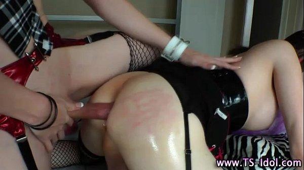 Bareback shemale bitch fucks tight ass