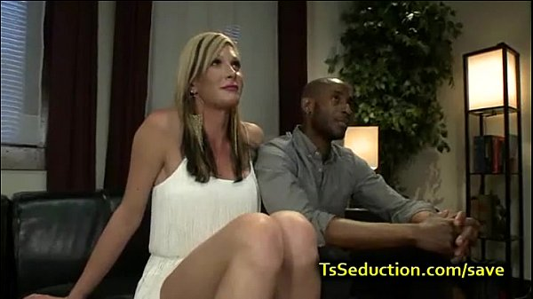 Busty blonde tranny fucks black guy