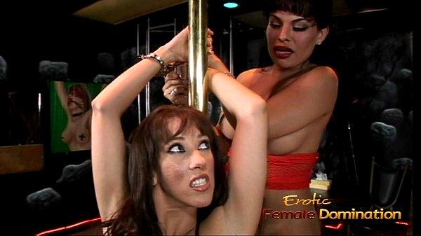 Foxy t-girl enjoys having some kinky fun with her slim brunette lover