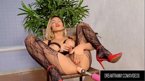 Hot Blonde Tgirl Dani Peterson Gets Drilled by Dildo and Machine