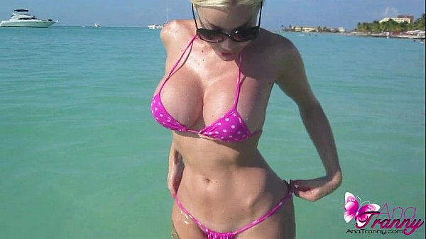 Shemale Ana Mancini Flashes Her Big Tits While On Vacation